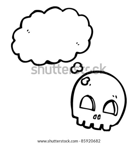cartoon skull thinking