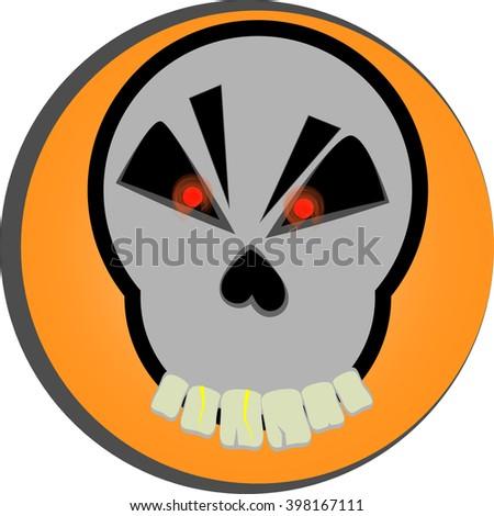 cartoon skull vector red eyes