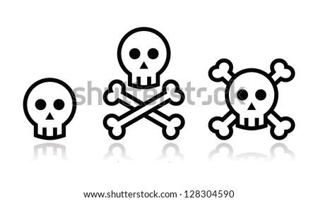 cartoon skull with bones vector