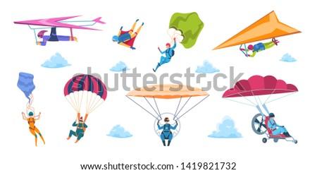 cartoon skydivers paraglider