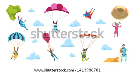 Cartoon skydivers. Sky jump with parachute and paraglider, extreme danger skydive falling. Vector adrenaline parachuting sport flat illustration Stock fotó ©