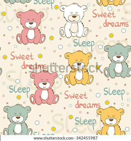 cartoon sleeping bear cute