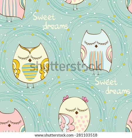 cartoon sleeping owl cute hand
