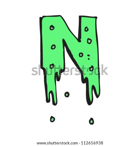 cartoon slime dripping letter n