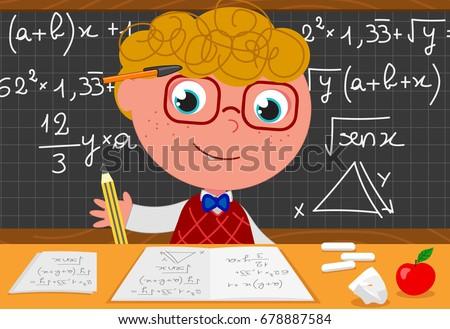 cartoon smart boy with black