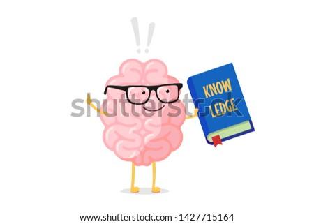 cartoon smart brain character