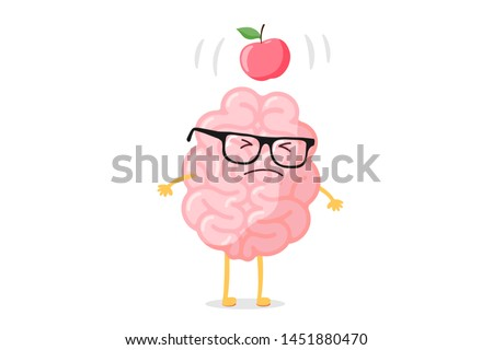 Cartoon smart human brain character with glasses and apple falling dawn to head scientific discovery idea concept. Funny flat vector illustration