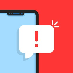 cartoon smart phone with alert notice. flat simple trend modern logotype graphic design element. concept of red hazard or beware now on device display and phishing attack or malware inbox