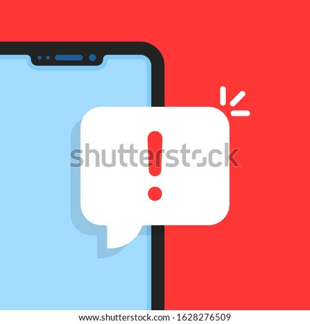 cartoon smart phone with alert notice. flat simple trend modern logotype graphic design element. concept of red hazard or beware now on device display and phishing attack or malware inbox Stock photo ©