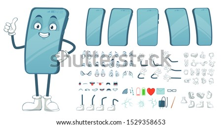 Cartoon smartphone mascot. Funny mobile phone character, smartphones screen with face legs and arms. Tablet gadget device display body constructor. Isolated vector illustration symbols bundle