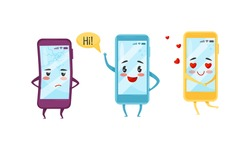 Cartoon Smartphone with Arms and Legs Feeling Sad and Greeting Vector Set