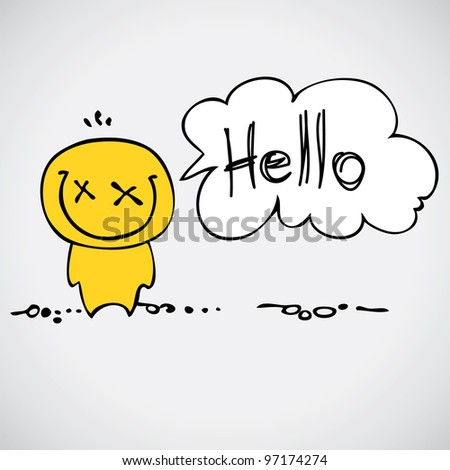 Cartoon smiling colorful hello - stock vector
