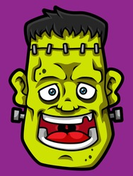Cartoon Smiling Frankenstein Head