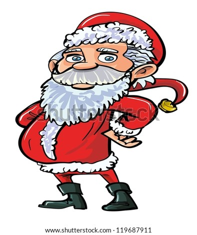 Cartoon smiling happy Santa in red. Isolated on white