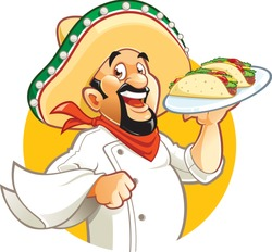 Cartoon smiling Mexican ch...late tacos