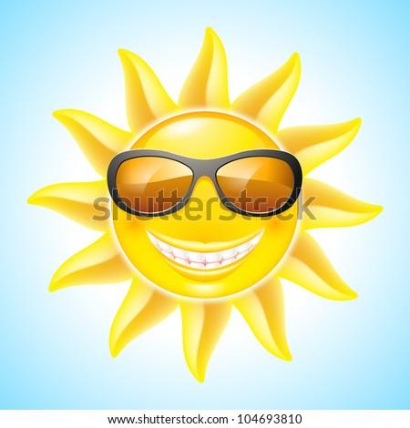 cartoon smiling sun with