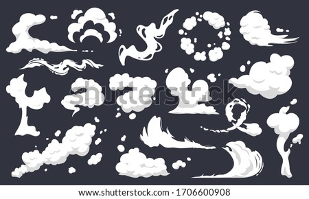 Cartoon smoke clouds. Comic smoke flows, dust, smog and smoke steaming cloud silhouettes isolated vector illustration set. Wind silhouette steaming, smoke explosion, comic cloud collection