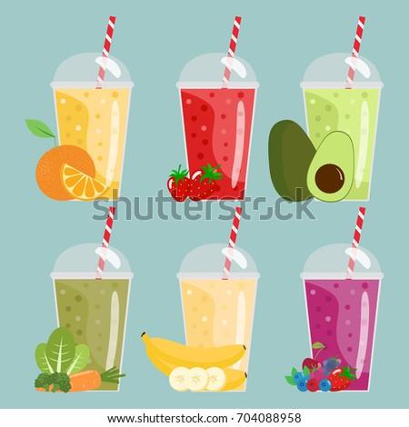 Cartoon smoothies. Orange, strawberry, berry, banana, green and avocado smoothies.