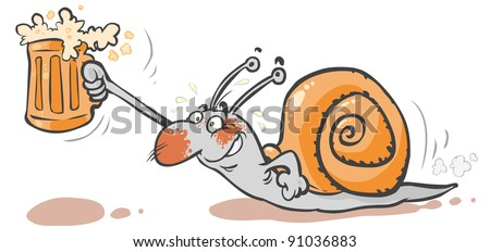 Cartoon Snail brings a Beer.