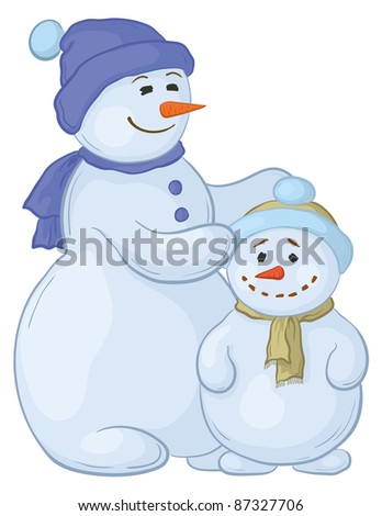 Cartoon, snowmens mother and son, isolated white background. Vector