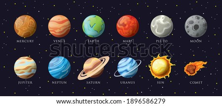 Cartoon solar system planets. Astronomical observatory small planet pluto, venus mercury neptune uranus meteor crater and star universe astronaut sign. Astronomy galaxy space vector isolated icons set ストックフォト ©