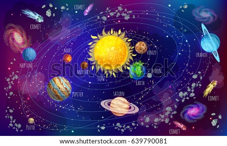 cartoon solar system scientific