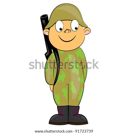 cartoon soldier standing with gun military man vector