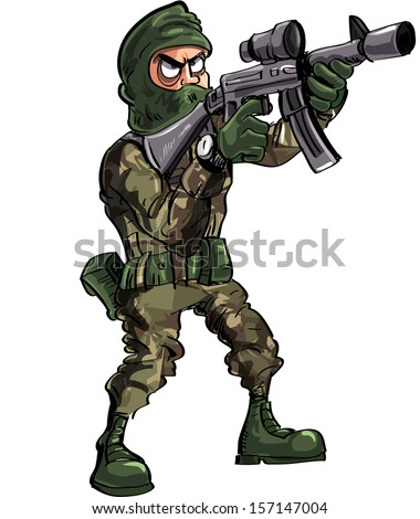 cartoon soldier with gun and