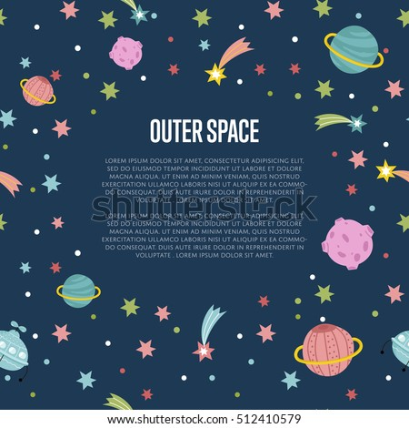 Cartoon space background with cartoon planet and stars. Outer space cartoon background. Space background for kids diploma or kids books. Cartoon space vector illustration. Cartoon galaxy and cosmos.