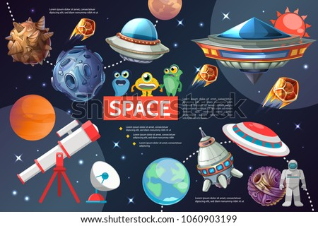 Cartoon space elements collection with sun planets stars spaceships ufo telescope satellite dish astronaut asteroids cute aliens isolated vector illustration