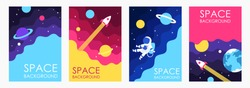 Cartoon space. Galaxy. Set of templates for flyers, banners, booklets, frames, brochures, posters, cards. Vector EPS 10. Children's illustration. Planets in space.