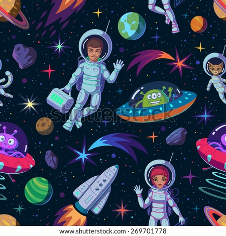cartoon space seamless pattern