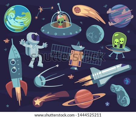 cartoon space set cute