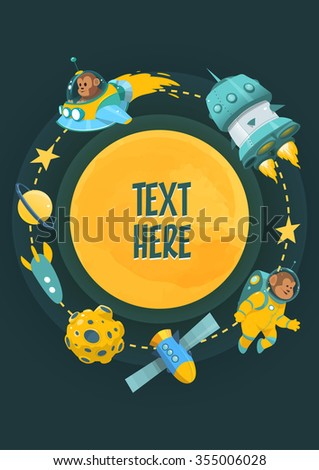 cartoon space theme with