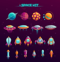 Cartoon space war concept. Alien planets, UFOs, rockets and missiles objects in the kit. Fantasy cosmic items for mobile game or web design. Vector GUI elements on space background.