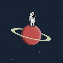 Cartoon spaceman standing on a red planet. Childish vector illustration