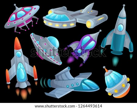 Cartoon spaceship. Futuristic space rocket vehicles, alien flight spacecraft ship ufo and aerospace rocketship. Spaceships shuttle vehicle, aliens ships or rocketship isolated vector set
