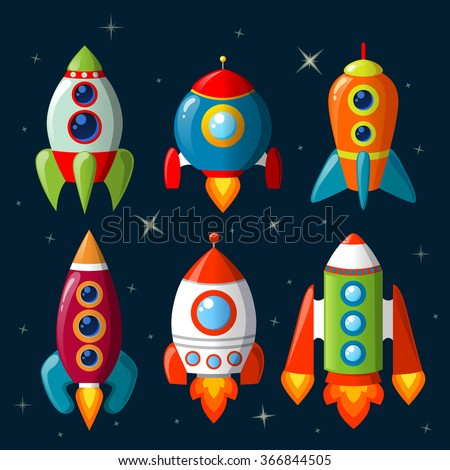 Cartoon spaceship set