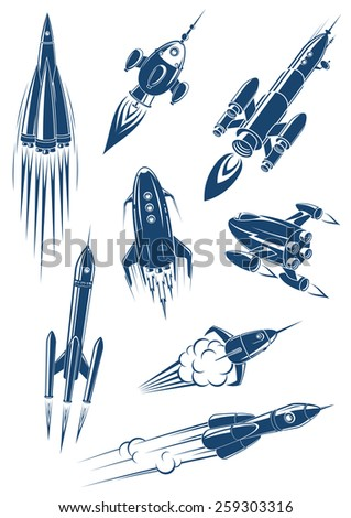 cartoon spaceships and rockets