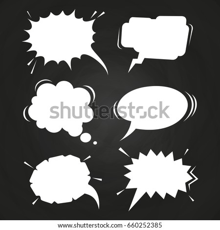 Cartoon speech balloons collection on chalkboard. Vintage clouds collection sketch. Vector illustration