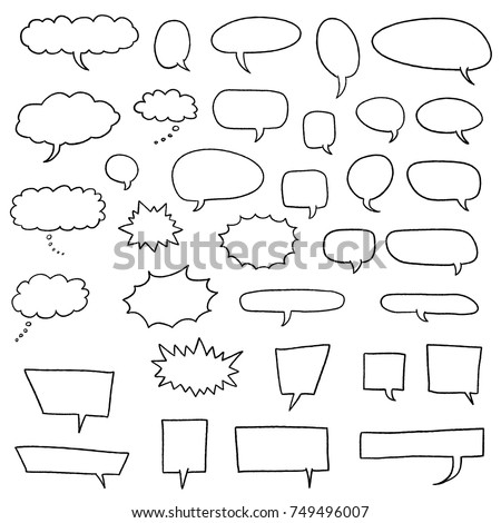 Cartoon speech bubbles set - comic books style black dialog cloud vectors.