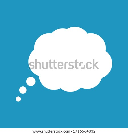 Cartoon speech or think bubble, empty communication cloud. Vector design element.