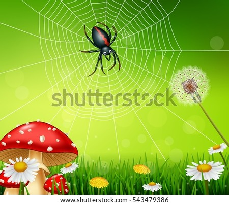 cartoon spider with nature