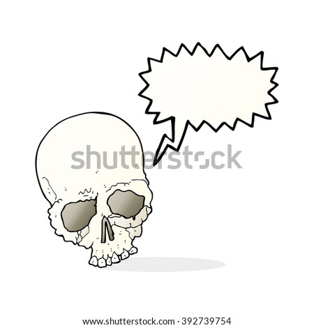 cartoon spooky old skull with speech bubble