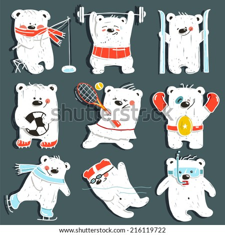 cartoon sport bears in action