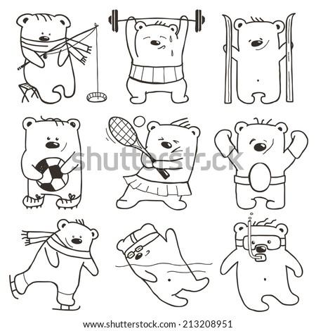 cartoon sport bears outlines