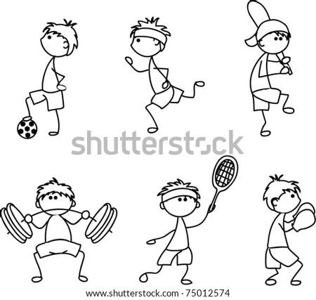 cartoon sport icon, children drawing