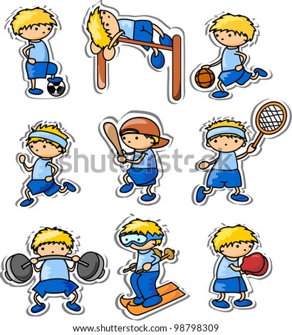 cartoon sport icons - stock vector