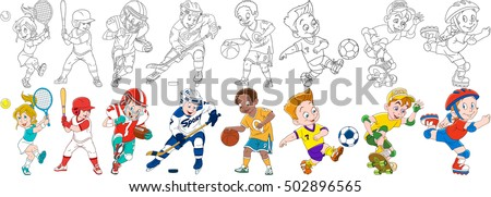 stock-vector-cartoon-sportive-children-set-sport-collection-boys-and-girls-playing-tennis-baseball-american