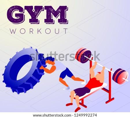 Cartoon sportsmen in training hall getting strong